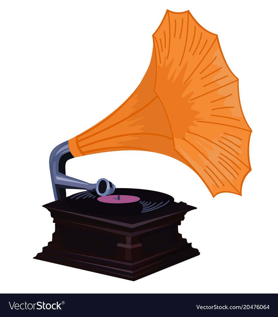 Old gramophone - phonograph with orange shade vector image
