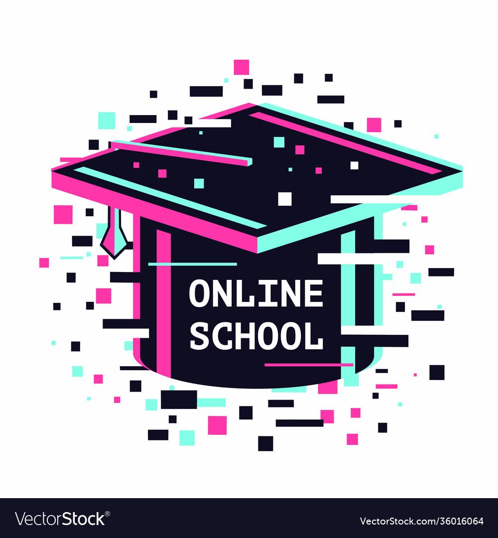 Online school icon e-learning emblem internet