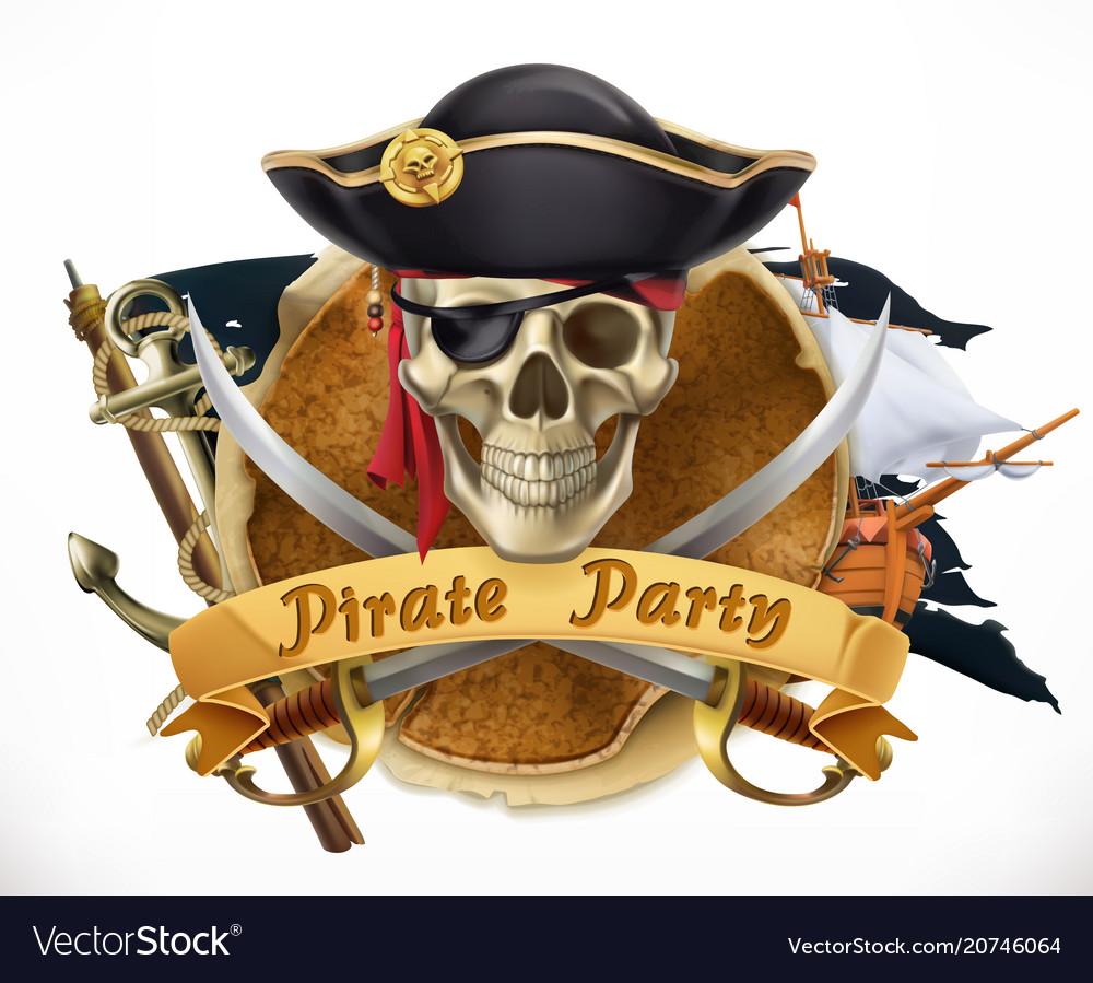 Pirate party 3d emblem