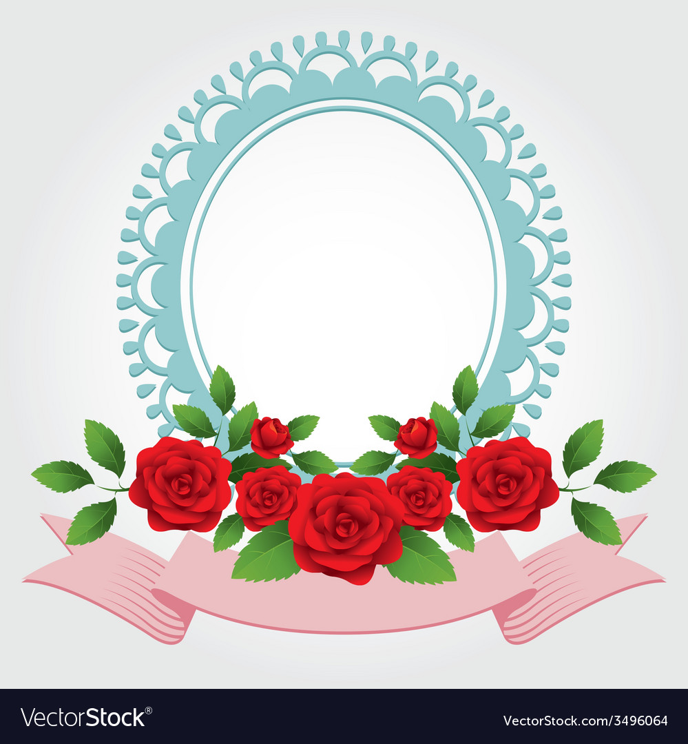 Red Roses Round Shape Frame and Border vector image