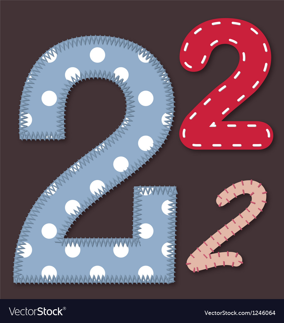 Set of stitched font - 2 Two