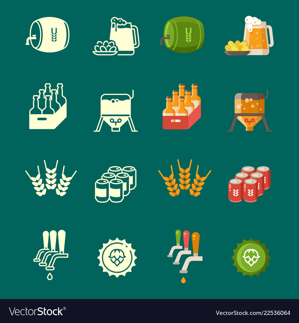 Silhouettes and colorful flat beer icons
