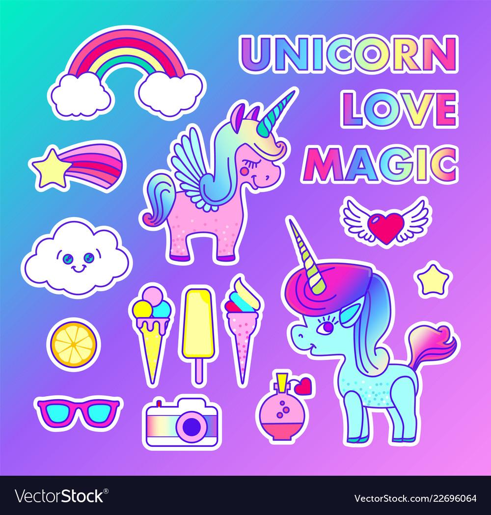 Stickers set with unicorn rainbow star comet
