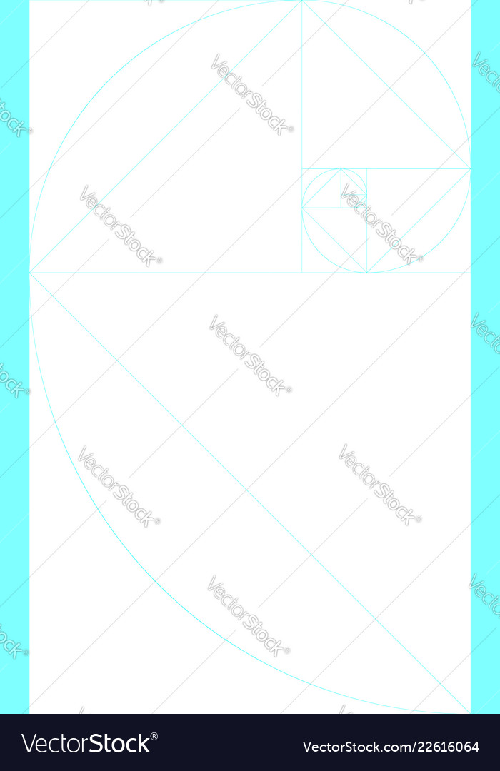 vertical blank golden ratio template with guides vector image