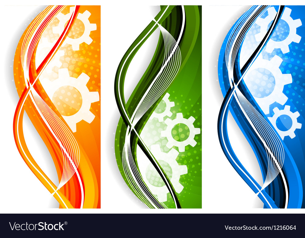 Wavy banners with gears