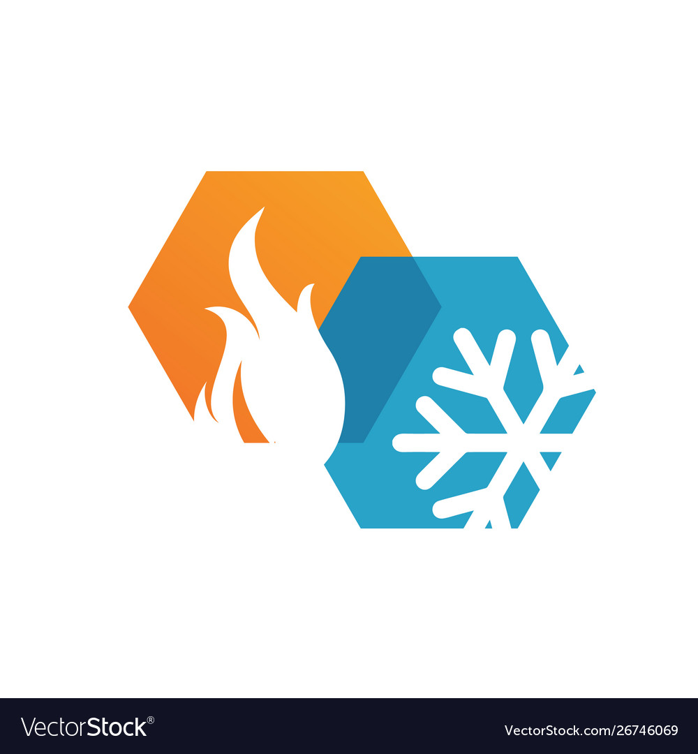 Abstract Heating And Cooling Hvac Logo Design Vector Image