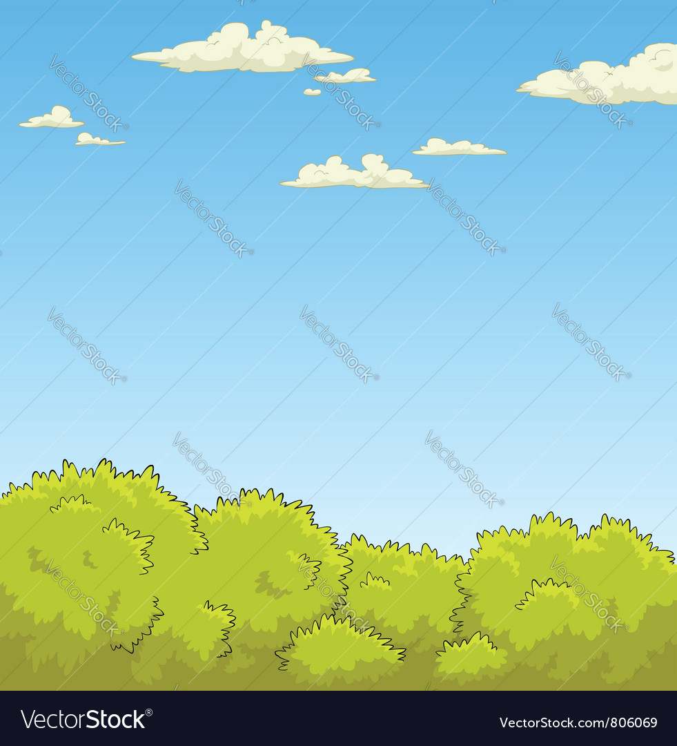 Bushes and the sky vector image