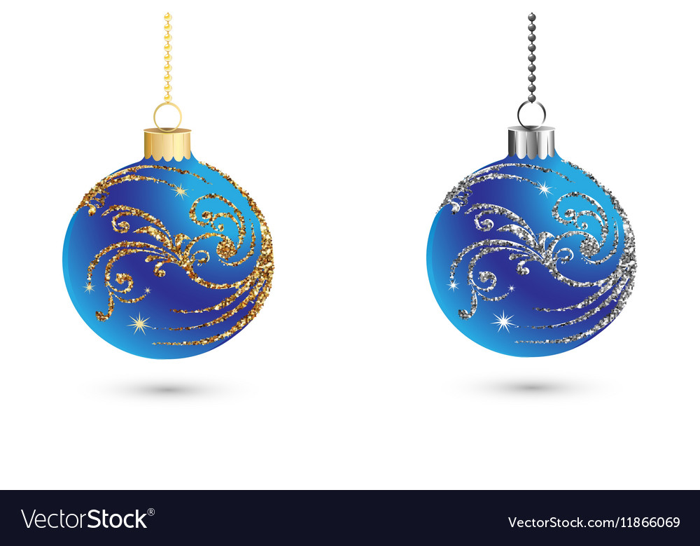 Christmas Balls Decoration With Silver And Gold Vector Image Magnificent Silver Balls Decor