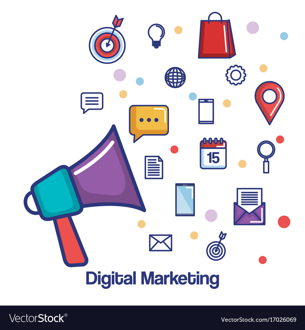 digital marketing megaphone social media vector image vectorstock