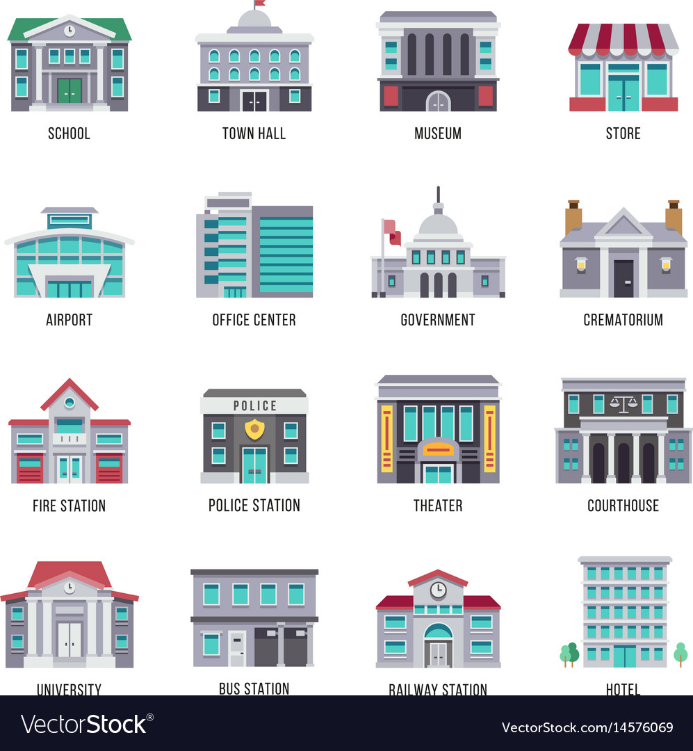 Government Buildings Flat Icons Set Royalty Free Vector