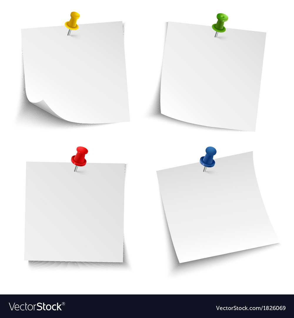 Note paper with push colored pin vector image