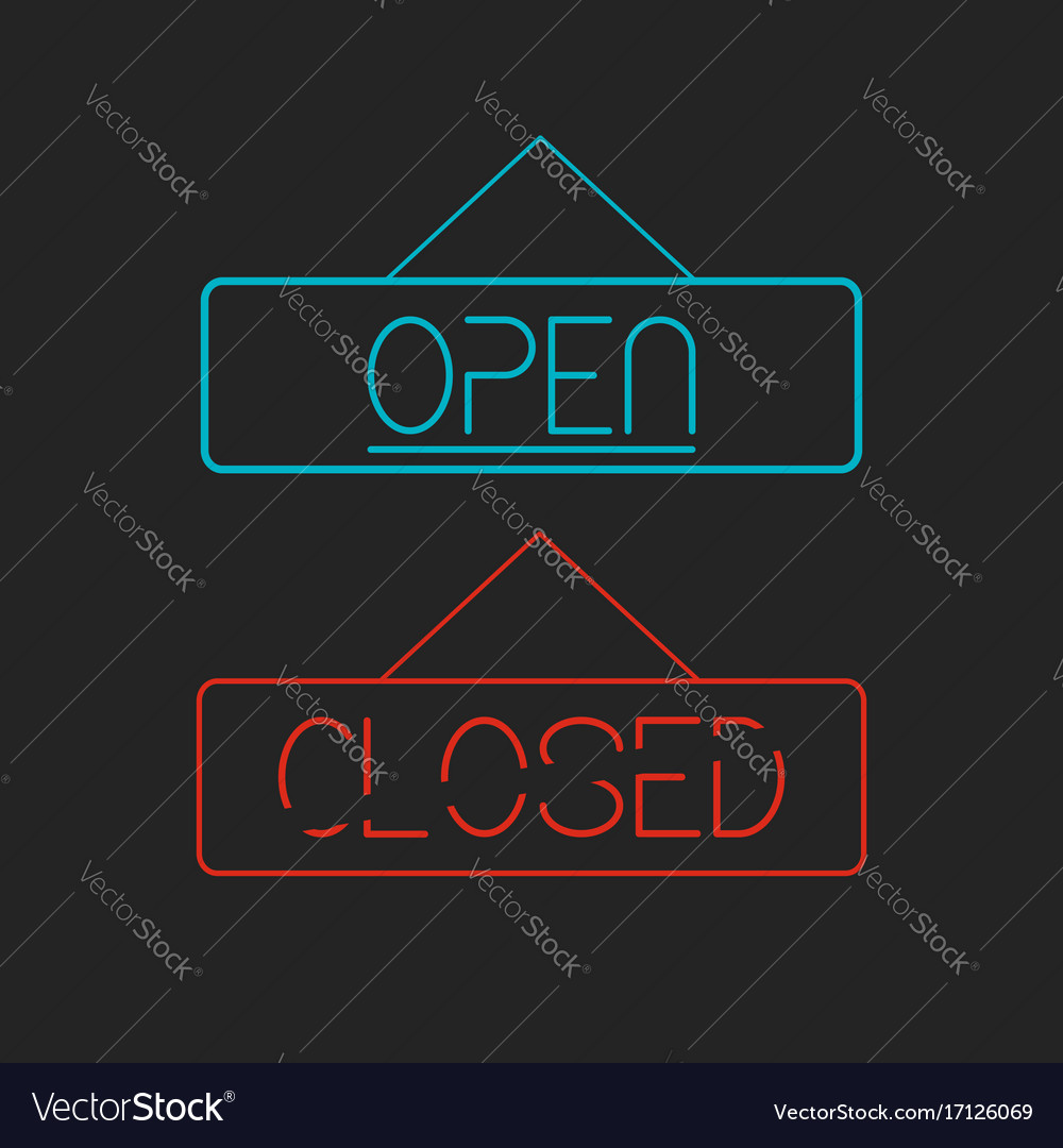 Open and closed signboards vector image
