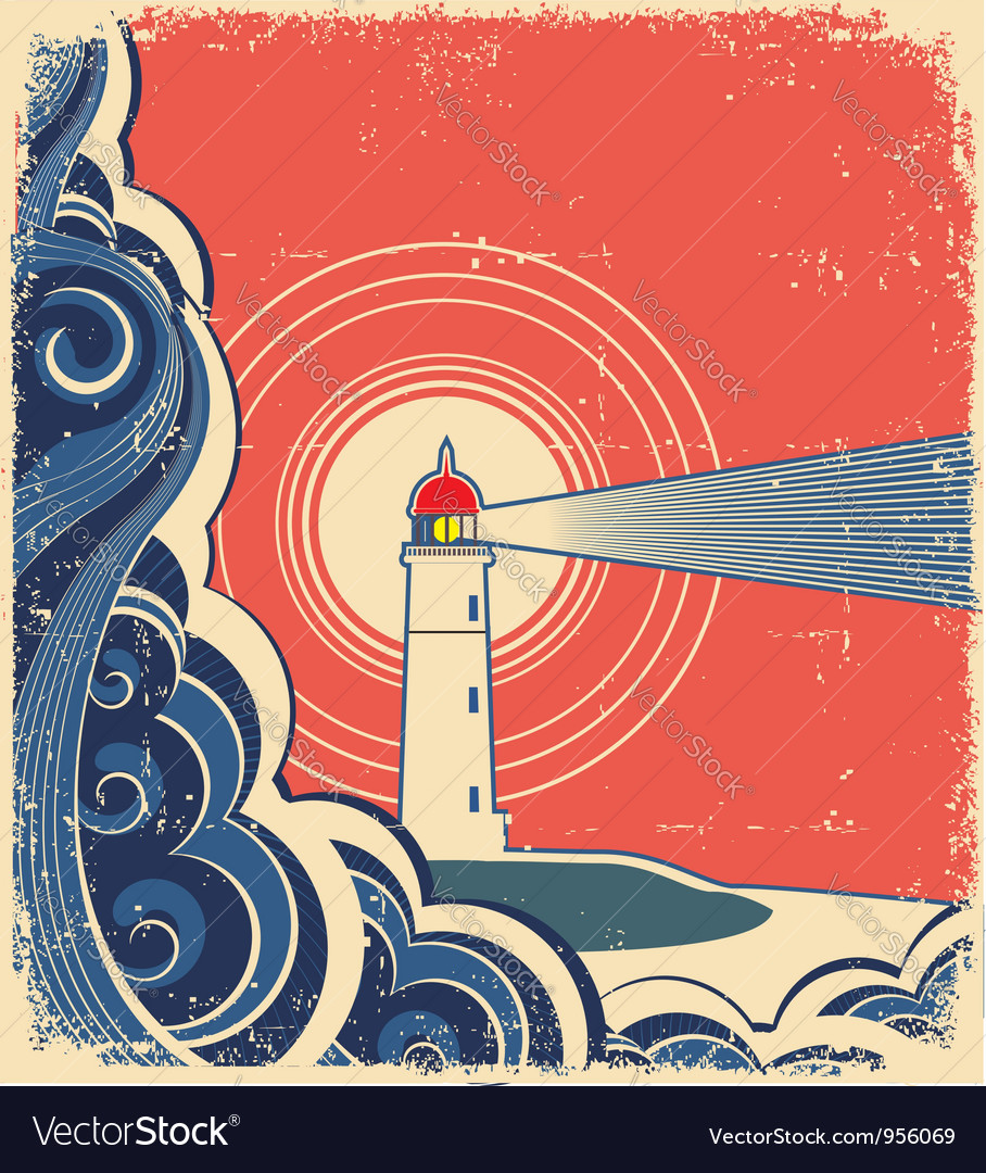 Sea waves with lighthouse on abstract grunge image vector image