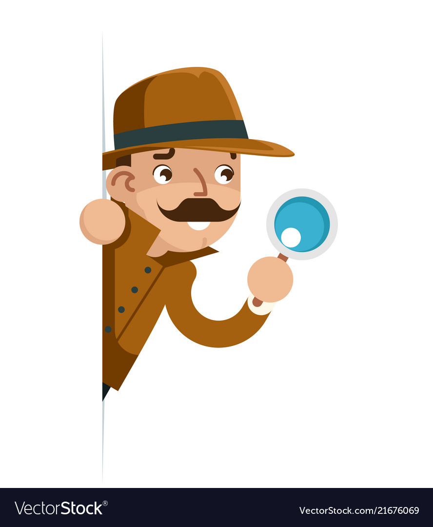 Snoop detective magnifying glass look peeking out