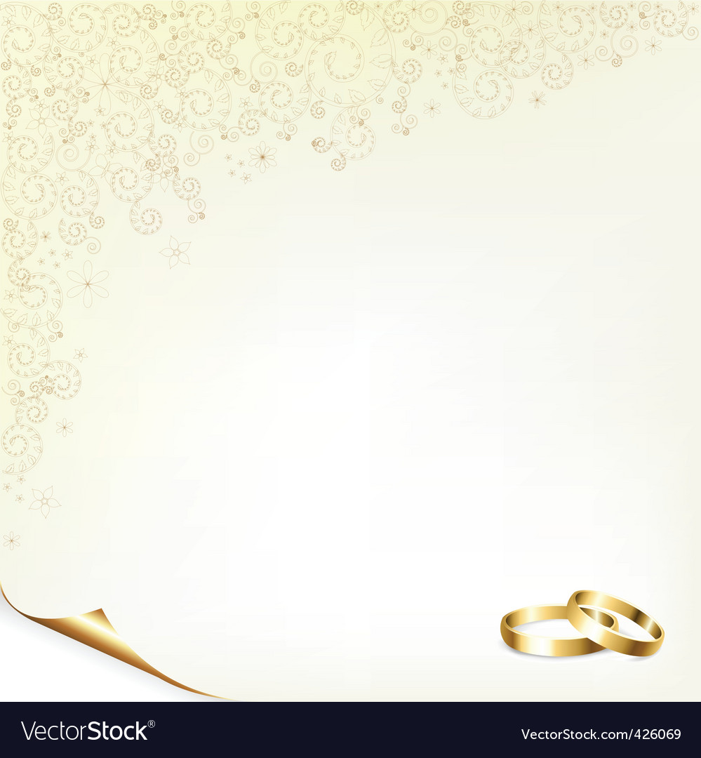 Description wedding background with gold rings vector illustration