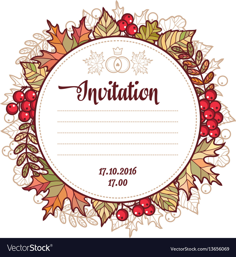 Wedding card template autumn background invitation vector image on vectorstock wedding card template autumn background invitation vector image stopboris Image collections