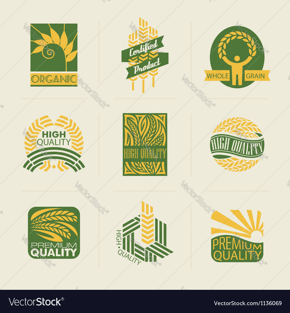 Wheat labels and badges