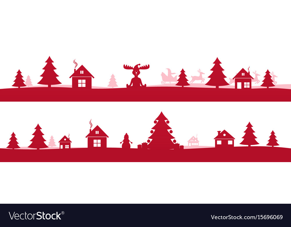 Winter red holidays landscape with christmas trees vector image