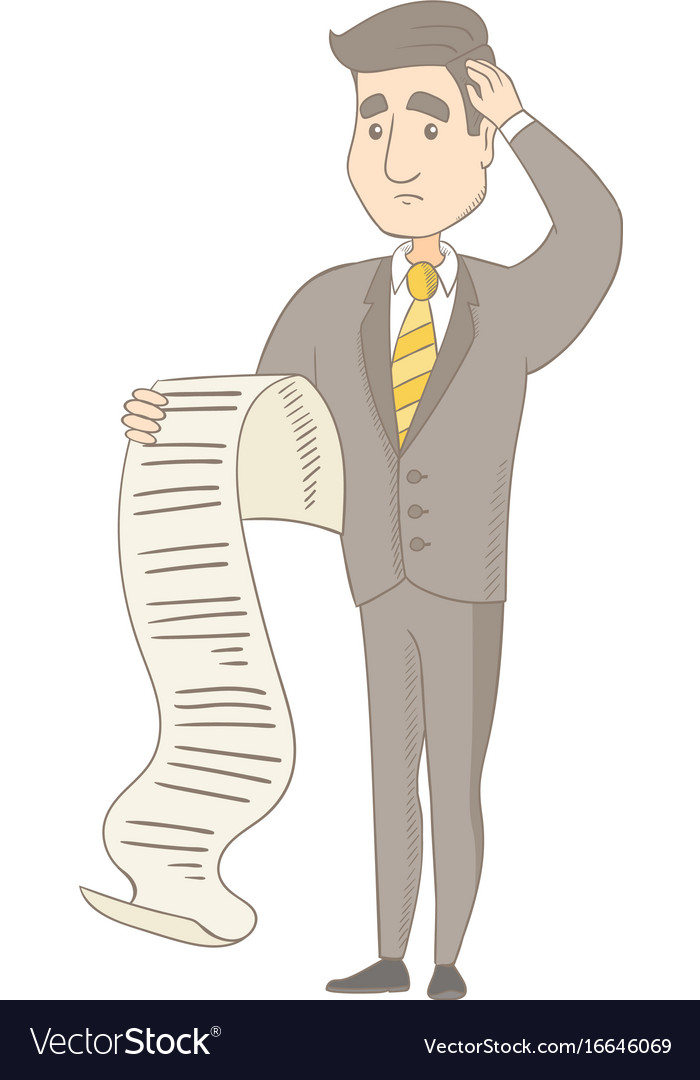 Young caucasian accountant holding a long bill