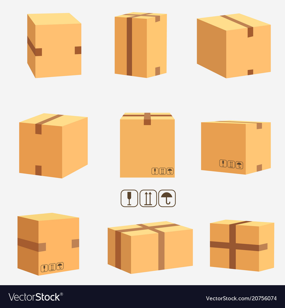 Cardboard boxes stacked sealed goods
