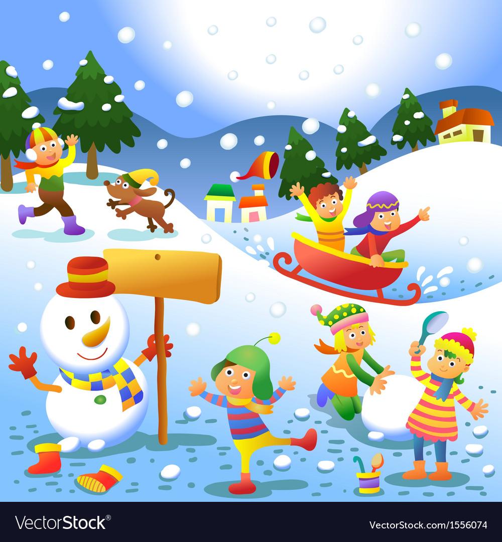 Cute kids playing winter games