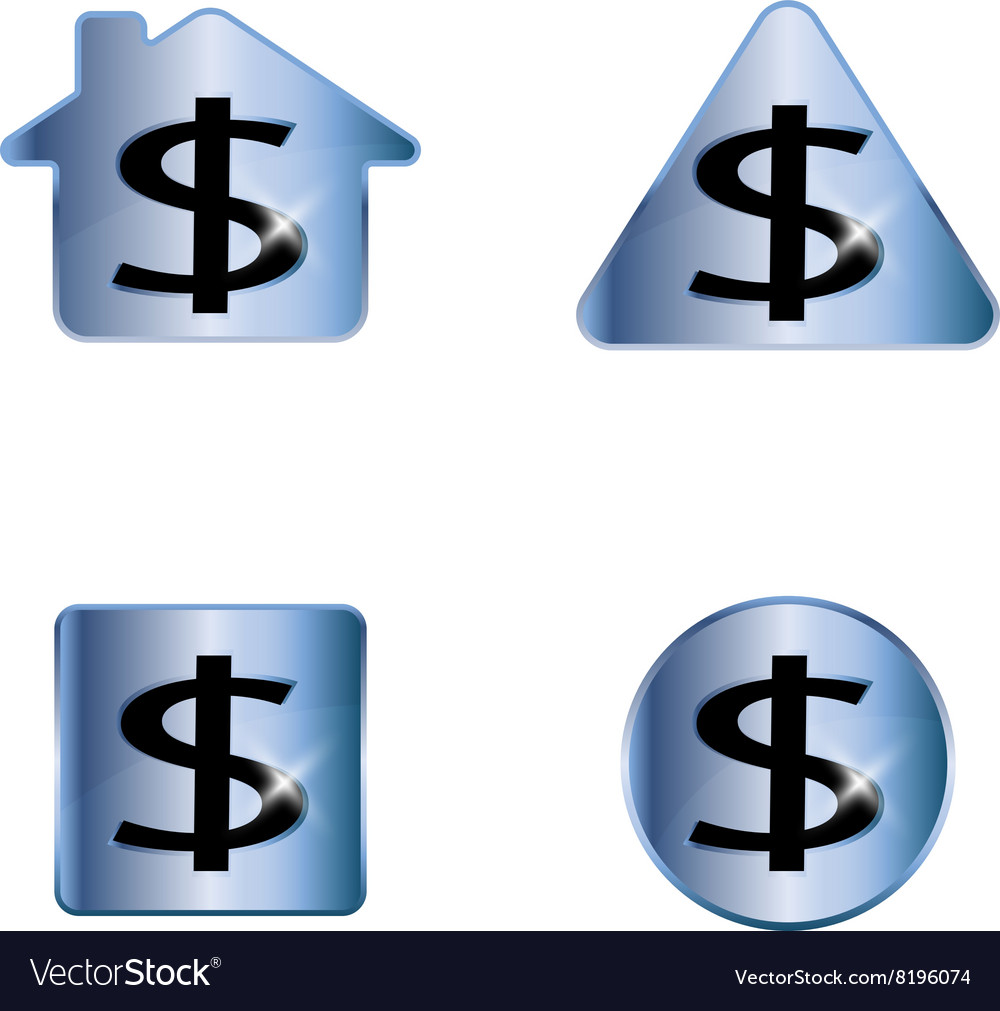 Dollar sign A set of four elements vector image