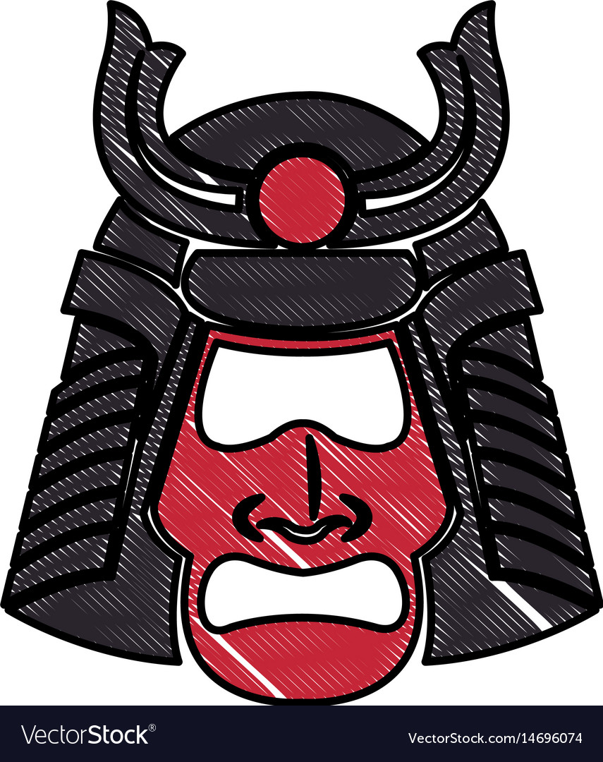Drawing samurai face mask japanese warrior image