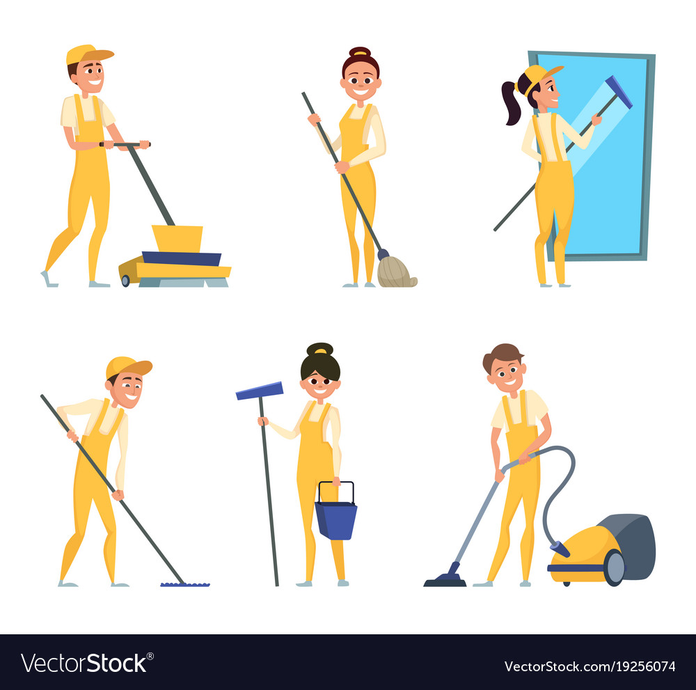 Funny characters of cleaning or technician service