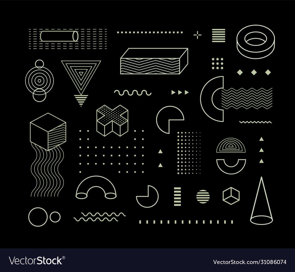 Geometrical pattern elements set memphis