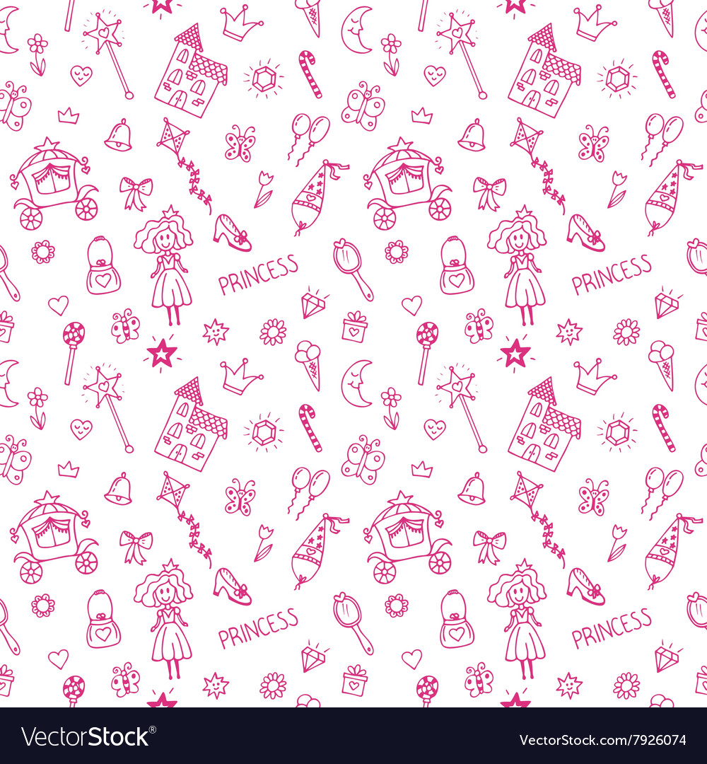 Hand drawn seamless pattern with princess doodle vector image