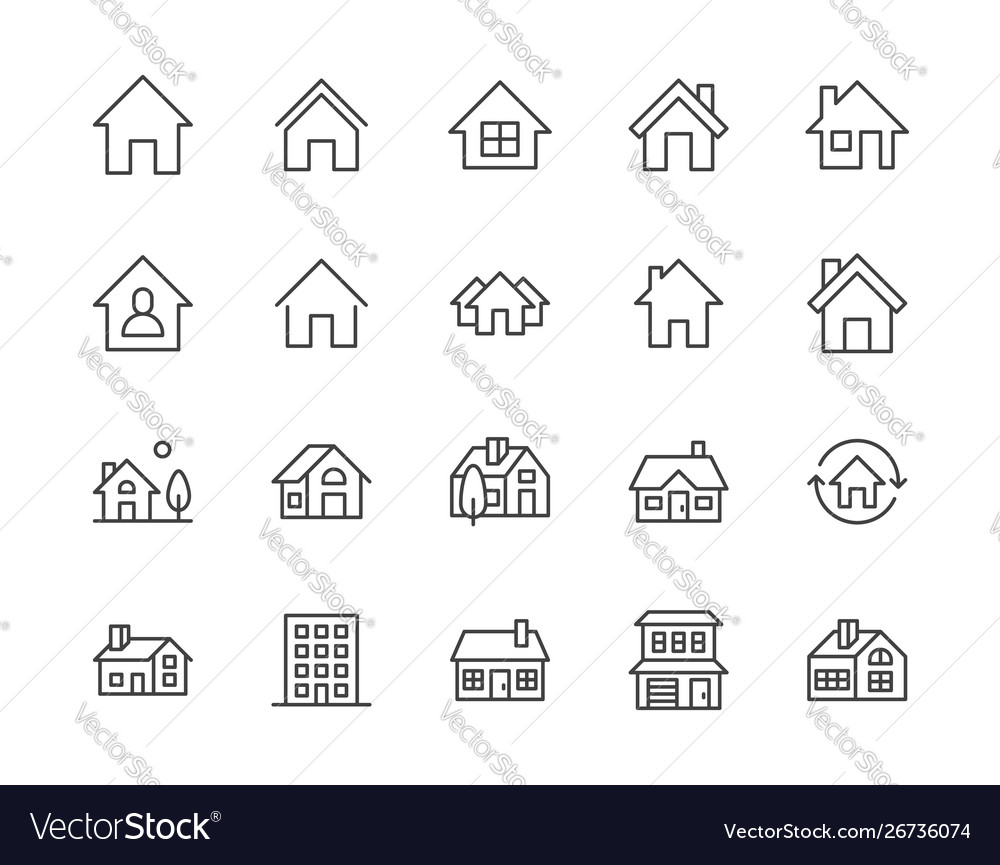 Houses flat line icons set home page button