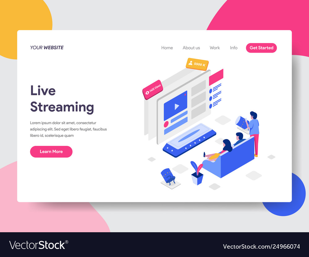Landing page template live streaming isometric