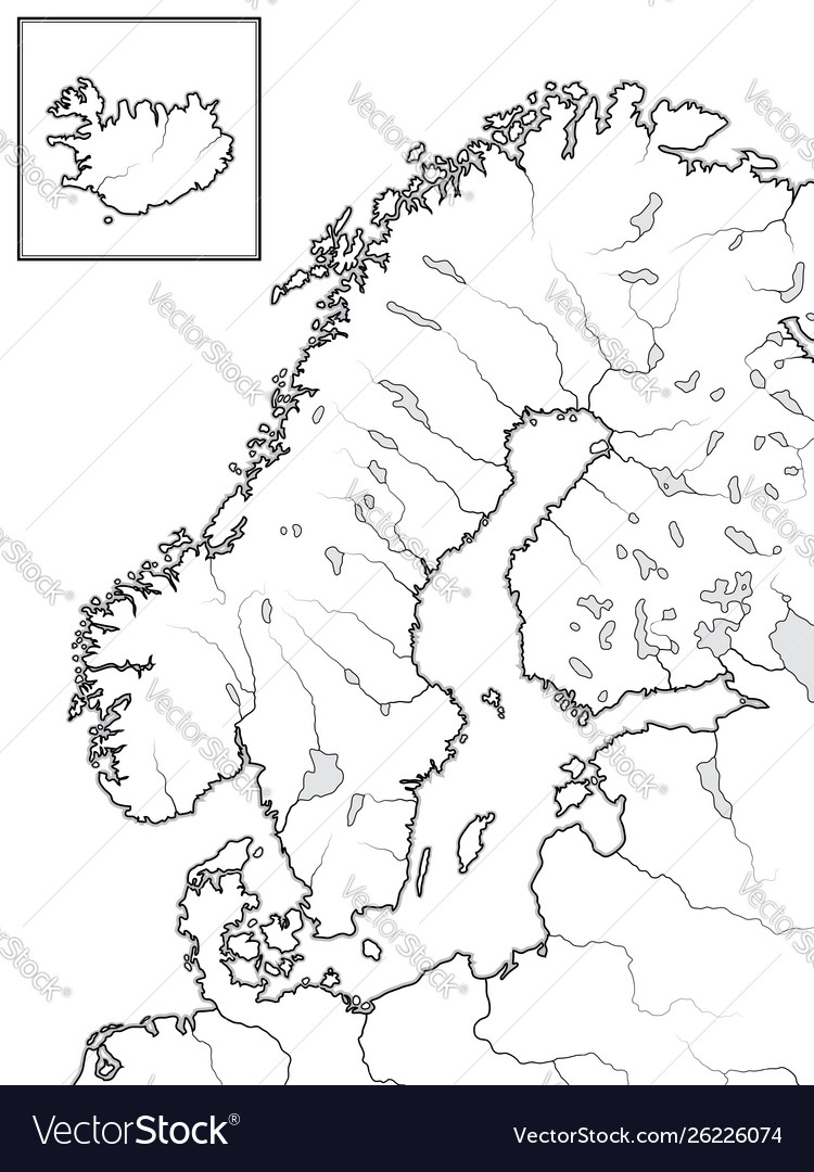Map The Scandinavian Lands Scandinavia Royalty Free Vector