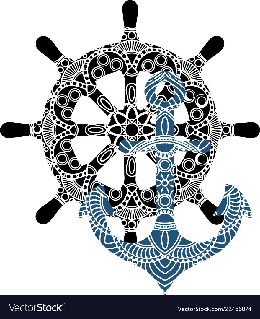Nautical anchor design logo