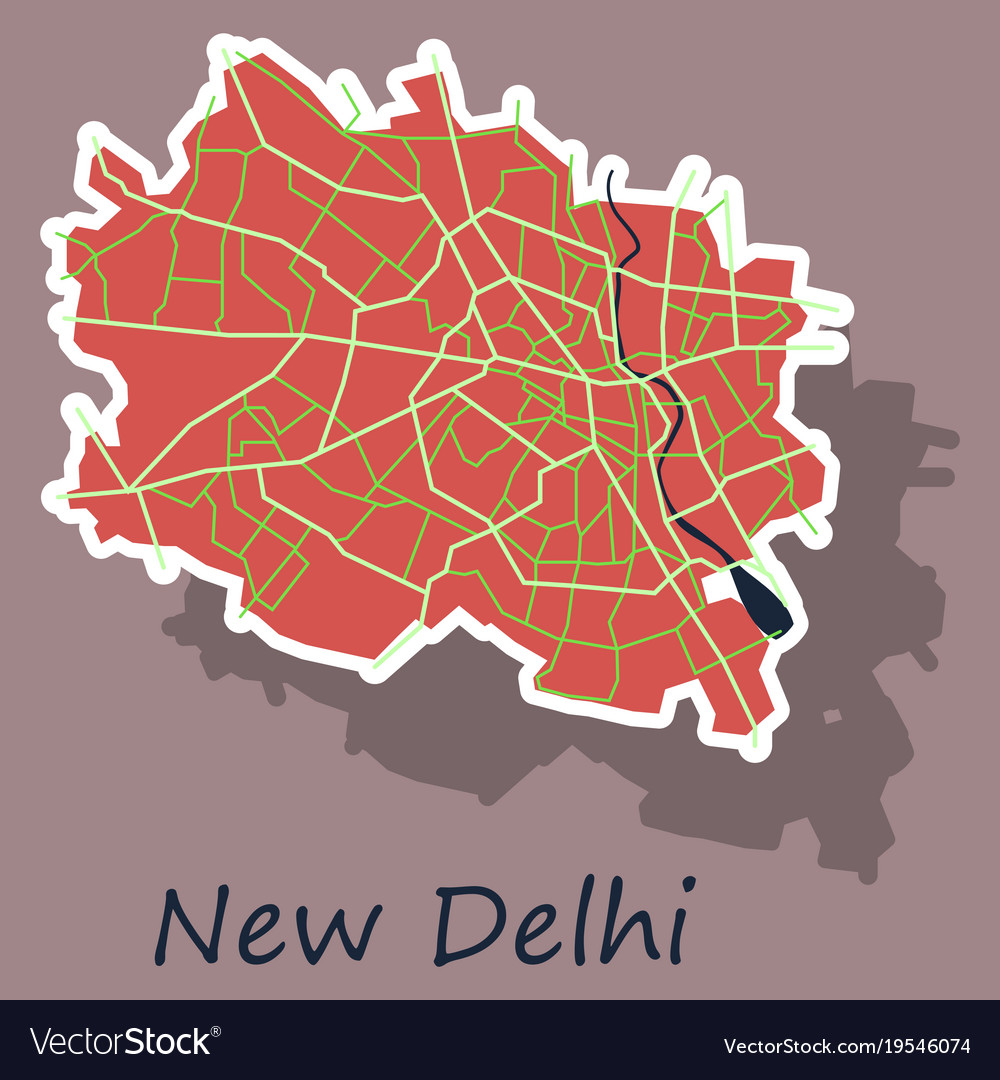 New delhi map sticker style design