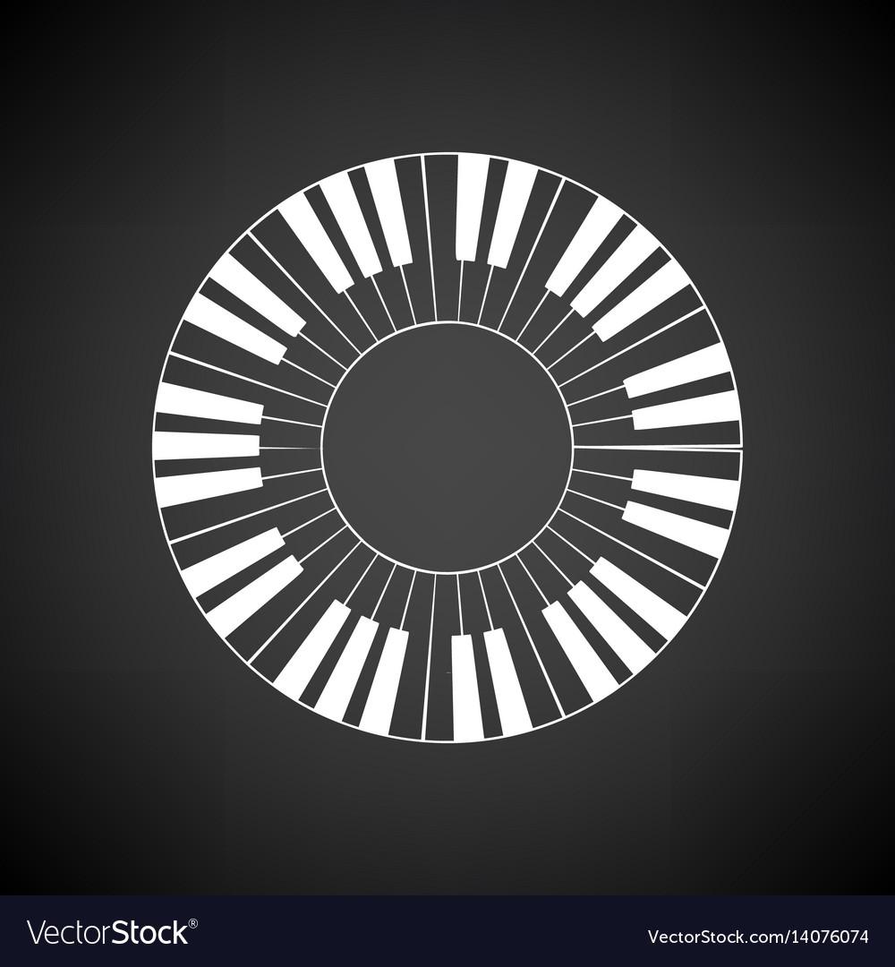 Piano circle keyboard icon vector image