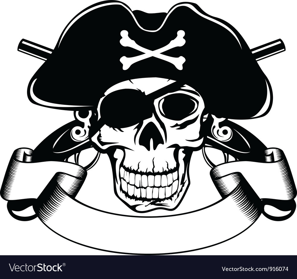 Pirate and crossed pistols vector image