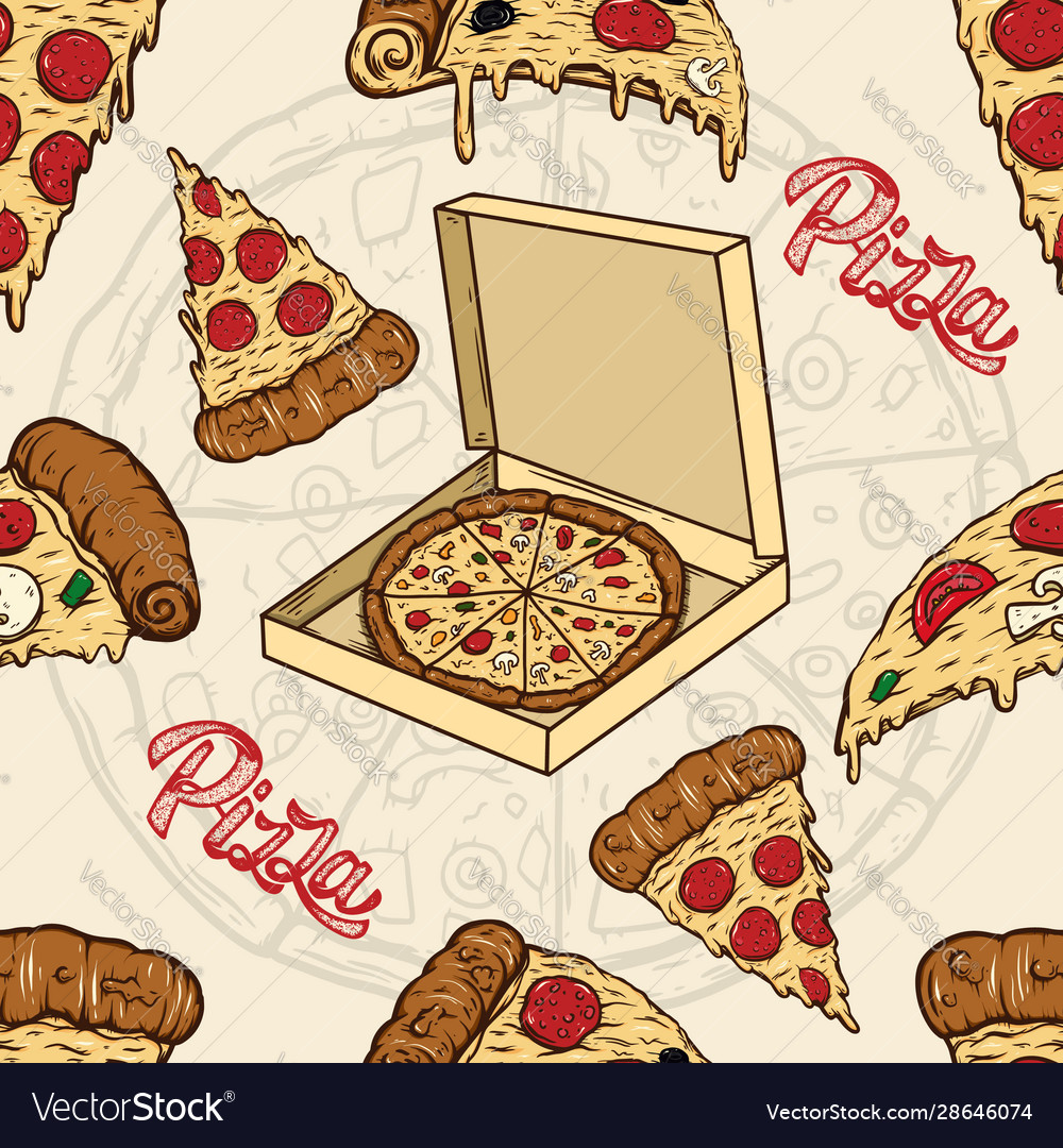 Seamless pattern with pizza and olives design