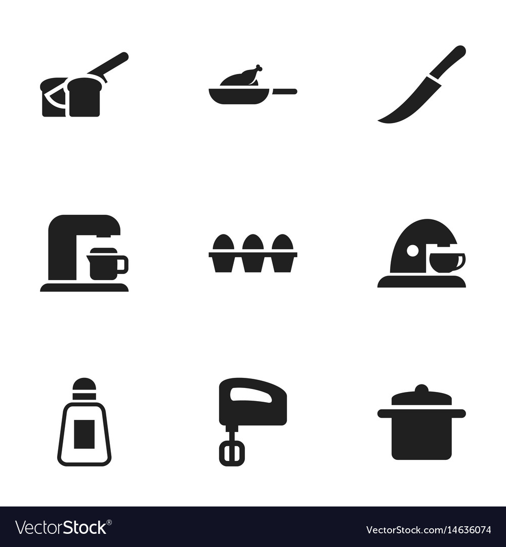 Set of 9 editable cooking icons includes symbols