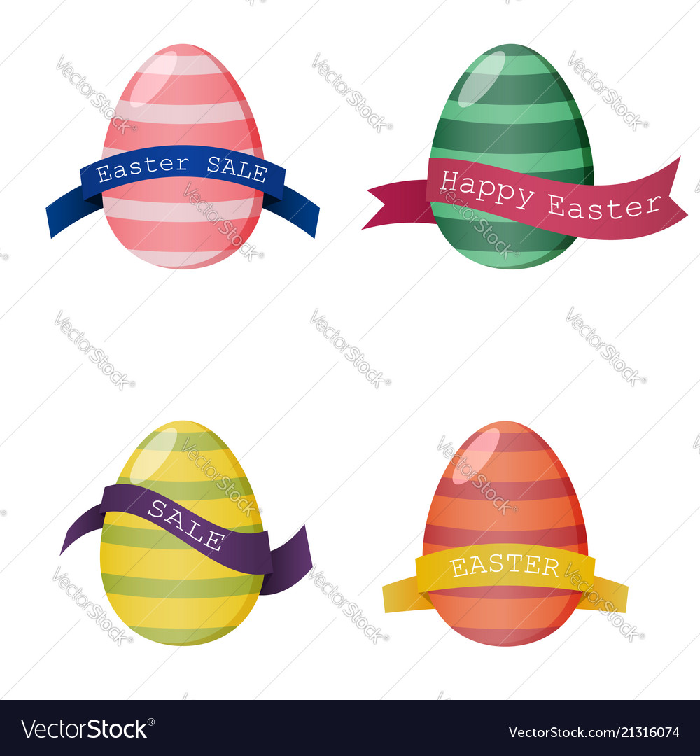 Set of colorful eggs with ribbon for design cards