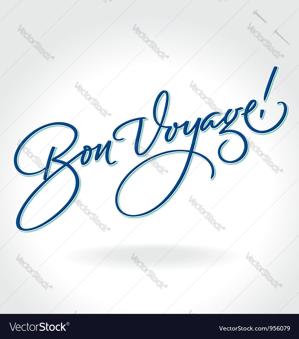 Bon Voyage hand lettering vector image