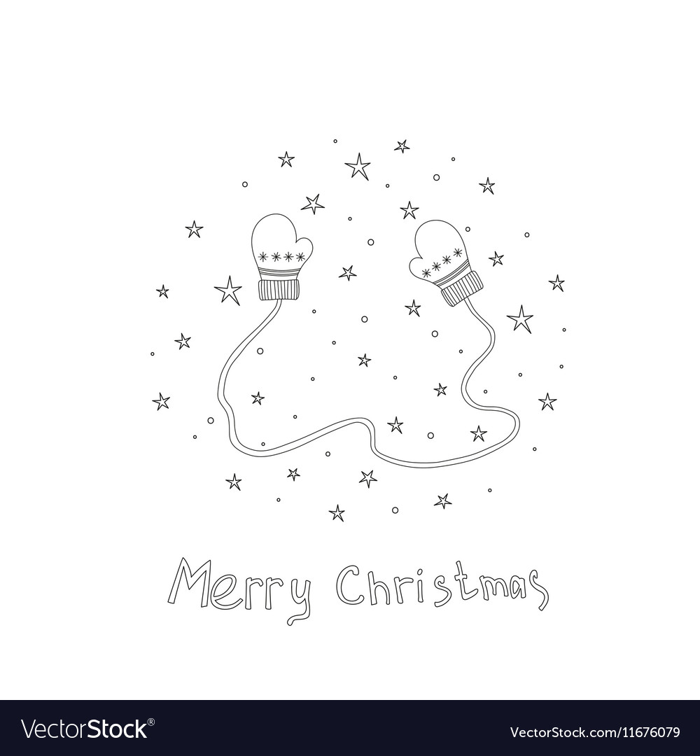 Christmas card with hand drawn mittens and text