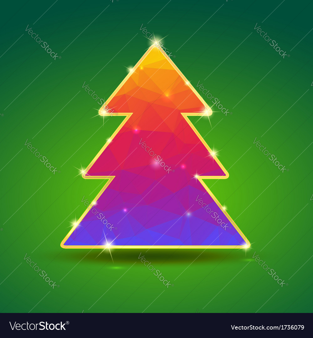 Creative bright Christmas tree with gold and
