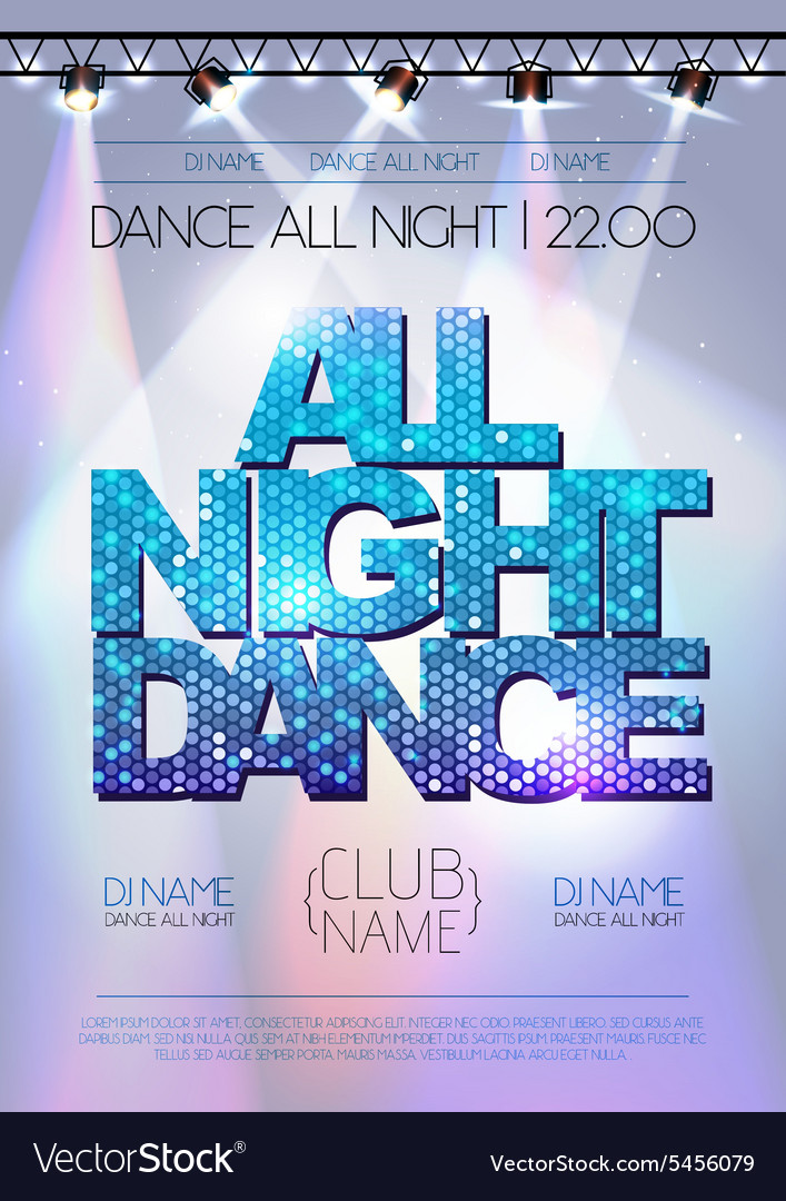 Disco background All night dance poster