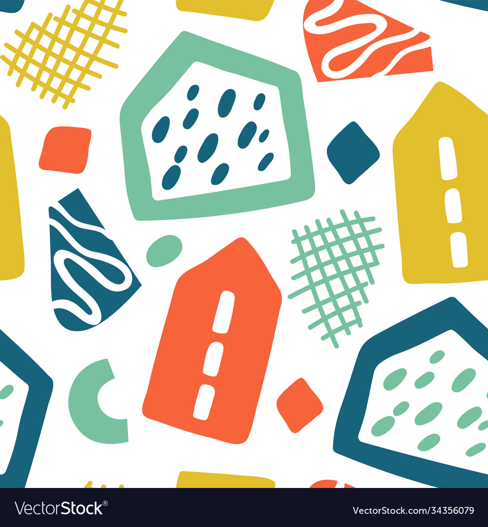 Doodle geometric background hand drawn buildings