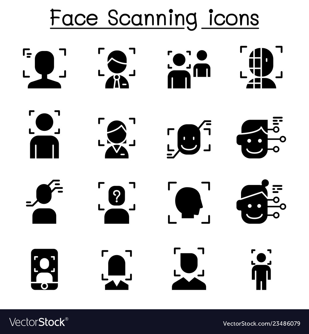 Face detection recognition and scanning icon set