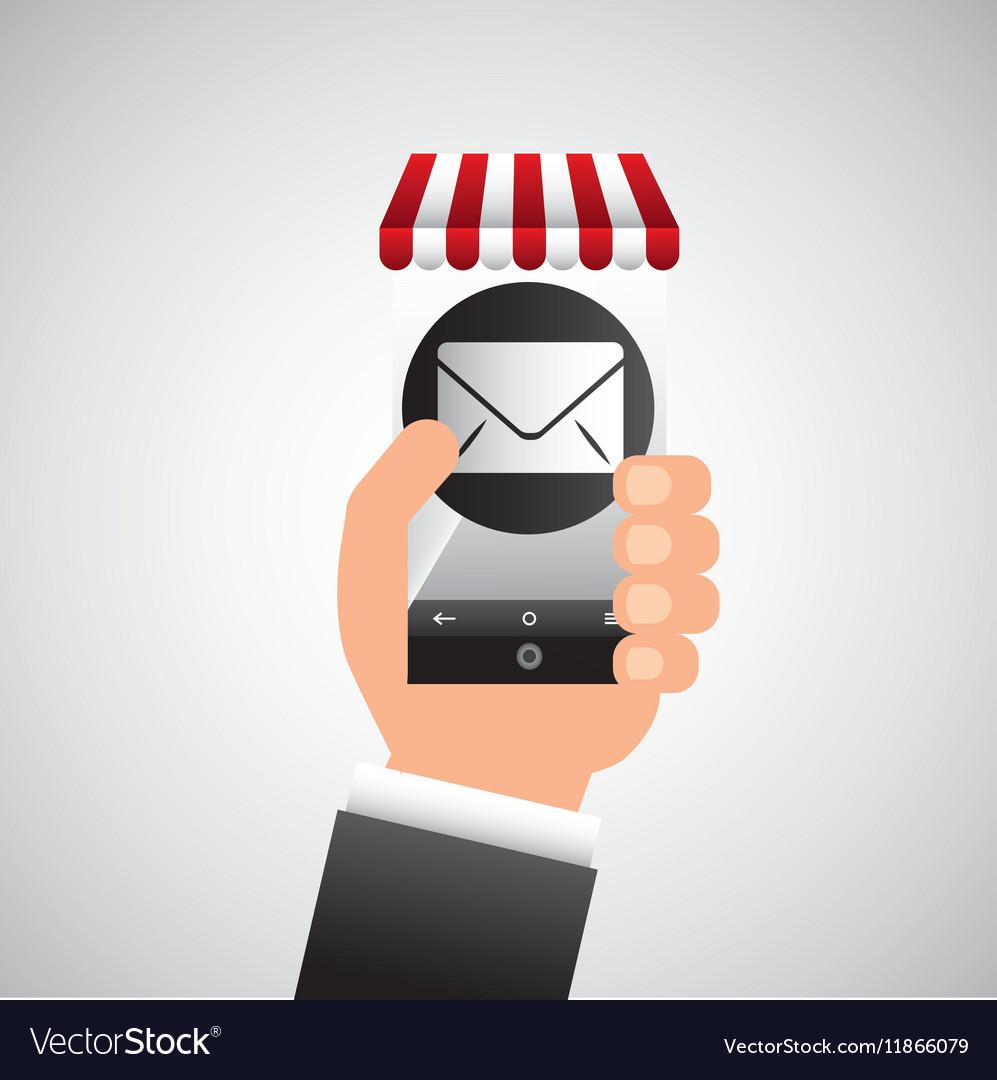 Hand holding e-shopping email design