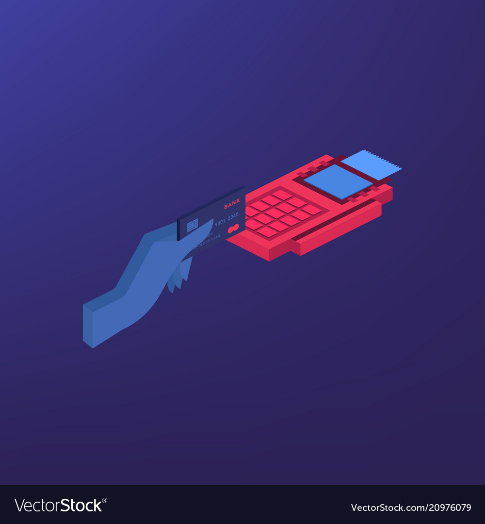 Isometric pos terminal confirms the payment by