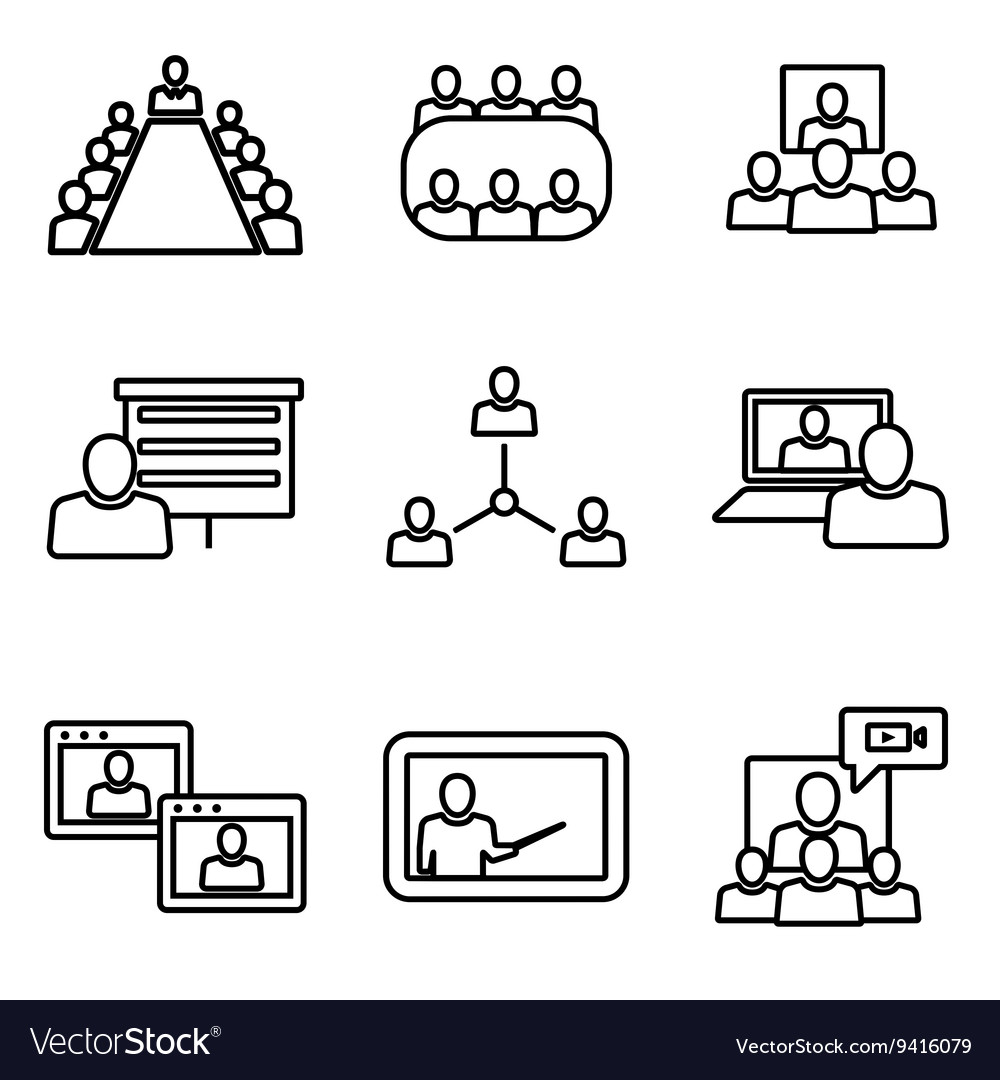 Line conference icons set Business