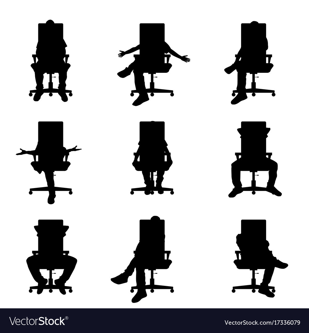 Man silhouette sitting on office chair set